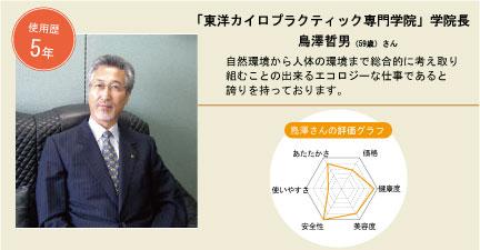 使用歴5年:東洋カイロプラティック専門学院学院長 島澤哲男さん