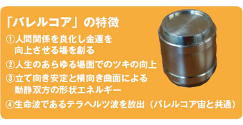バレルコア(樽)特徴