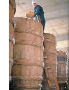 味噌作り杉の樽